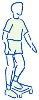 Figuur 5 - Springersknie - Versterken bovenbeenspieren - enkelbenig op traptrede
