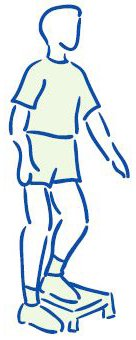 Figuur 6 - Knieblessure - Versterken bovenbeenspieren - enkelbenig op traptrede